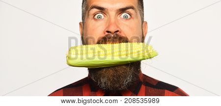 Guy With Eyes Wide Open Shows His Corn Harvest
