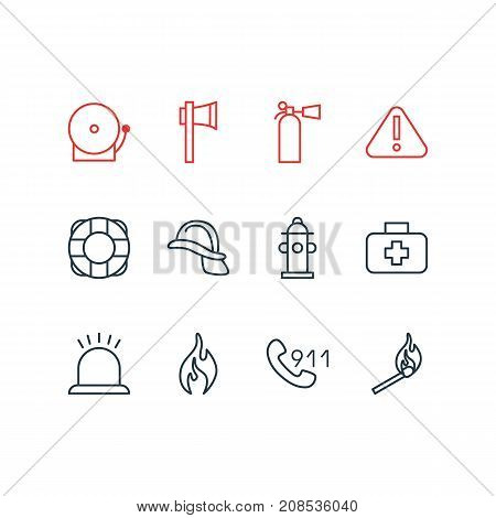 Editable Pack Of Lifesaver, Burn, Exclamation And Other Elements.  Vector Illustration Of 12 Extra Icons.