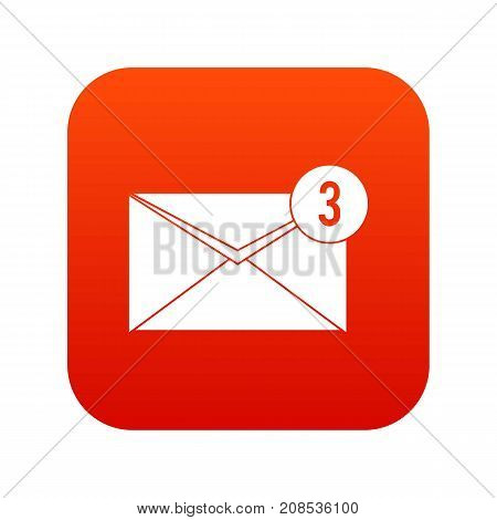 Envelope with three messages icon digital red for any design isolated on white vector illustration