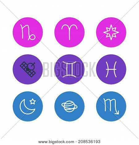 Editable Pack Of Saturn, Twins, Fishes And Other Elements.  Vector Illustration Of 9 Galaxy Icons.