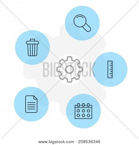 Editable Pack Of Garbage Container, Zoom, Meter And Other Elements.  Vector Illustration Of 5 Instruments Icons.