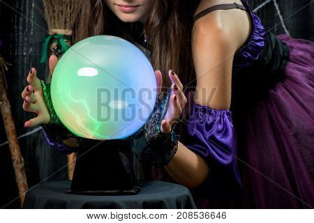 Ball Of Fate In The Hands Of A Successful Fortune Teller Closeup