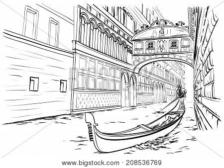 Vector illustration of hand drawn Bridge of Sighs, Venice sketch, Italy