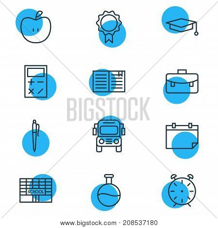 Editable Pack Of Calculate, Cap, Car And Other Elements.  Vector Illustration Of 12 Science Icons.