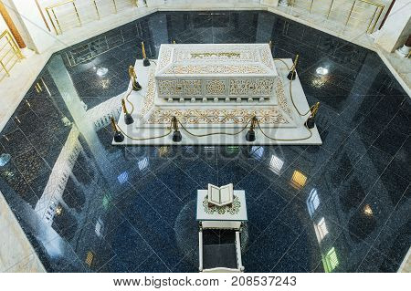 Monastir.Tunisia. OCTOBER 11 2017. The interior of the crypt and the Mausoleum of Habib Bourgiba the first President of the Republic of Tunisia TUNISIA