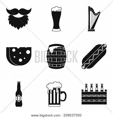 Drunken binge icons set. Simple set of 9 drunken binge vector icons for web isolated on white background