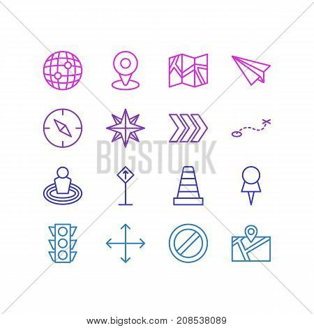 Editable Pack Of Path, Block, Paper Geography And Other Elements.  Vector Illustration Of 16 Direction Icons.