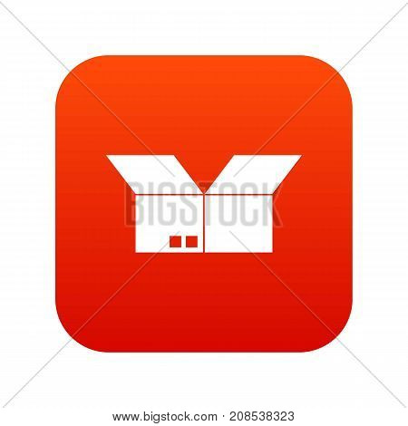 Opened cardboard box icon digital red for any design isolated on white vector illustration