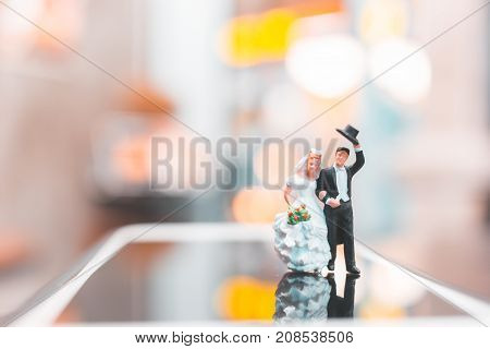 Miniature People , Couple Standing On Smartphone , Love Concept