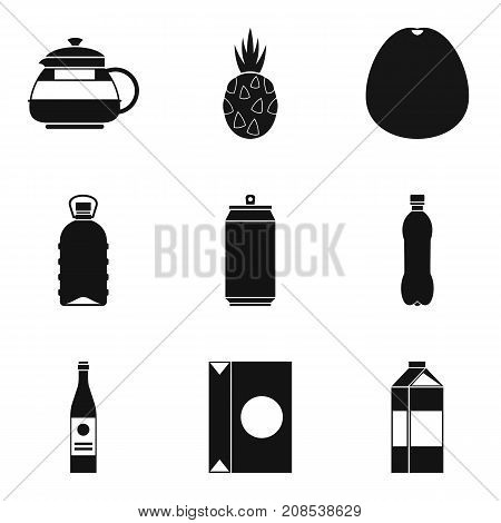 Can of beverage icons set. Simple set of 9 can of beverage vector icons for web isolated on white background