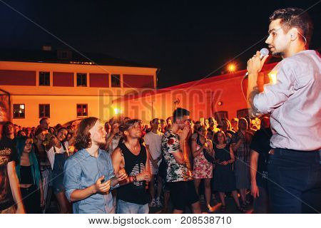 MINSK BELARUS.August 12 2017. A group of people dancing at a street concert