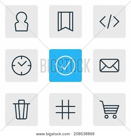 Editable Pack Of User, Lattice, Shopping And Other Elements.  Vector Illustration Of 9 Annex Icons.