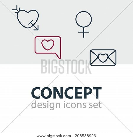 Editable Pack Of Messenger, Arrow, Invitation And Other Elements.  Vector Illustration Of 4 Passion Icons.