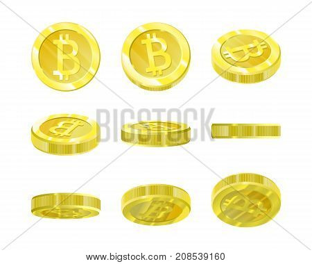 Bitcoins, gold 3d coin from different angles for animation of isolation. Crypt currency of the future, mining, electronic payments. Vector illustration.