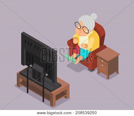 Isometric 3d Old Lady Watching TV Armchair Sit Cartoon Character Flat Design Vector Illustration