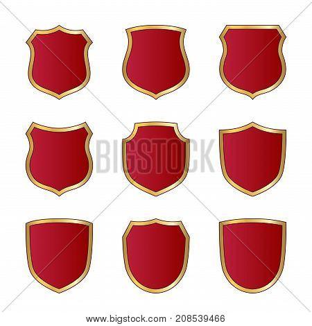 Shield Gold Red Icons Set Shape Emblem