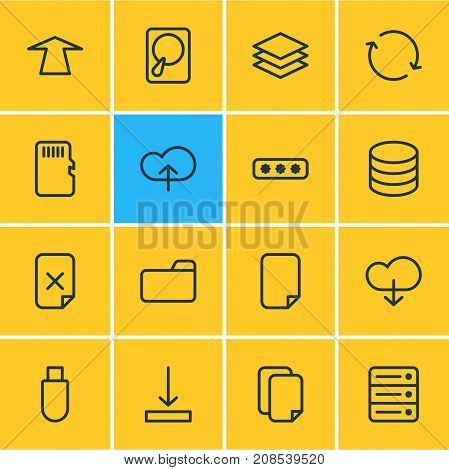 Editable Pack Of Dossier, Database, Layer And Other Elements.  Vector Illustration Of 16 Memory Icons.