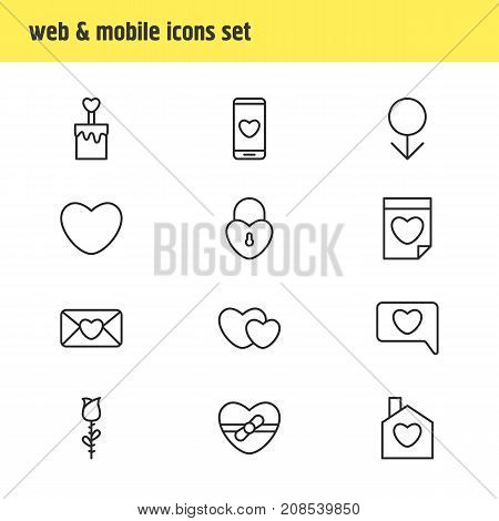 Editable Pack Of Male, Soul, Lock And Other Elements.  Vector Illustration Of 12 Passion Icons.