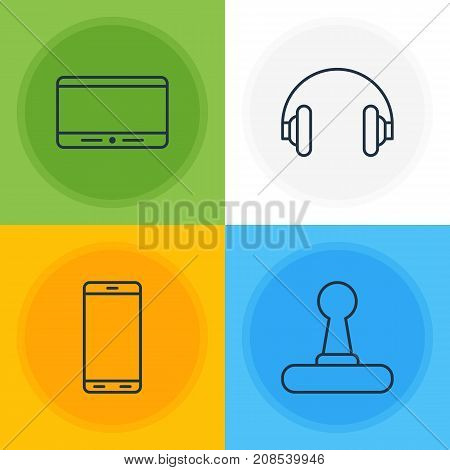 Editable Pack Of Smartphone, Monitor, Headset And Other Elements.  Vector Illustration Of 4 Technology Icons.