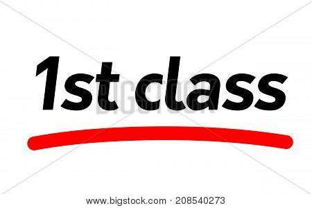 First class sticker. Authentic design graphic stamp.