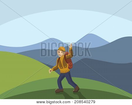 Young hiker waving hand at mountains. Peace of mind. Happiness, freedom, positivity, mindfulness concept illustration vector.