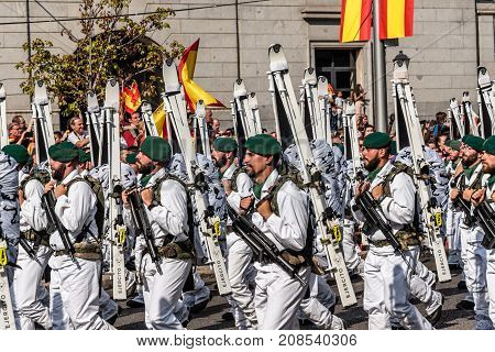 Madrid Spain - October 12 2017: Mountain soldiers marching in Spanish National Day Army Parade. Several troops take part in the army parade for Spain's National Day.
