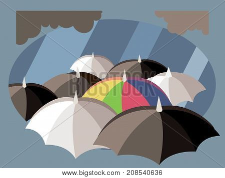 Rainbow umbrella in mass of black and white umbrellas. Stand out from the crowd. Business leadership concept illustration vector.