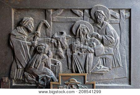 VARAZDIN, CROATIA - JULY 09: Birth of Jesus, detail of the entrance door of cahedral of Assumption in Varazdin, Croatia on July 09, 2016.