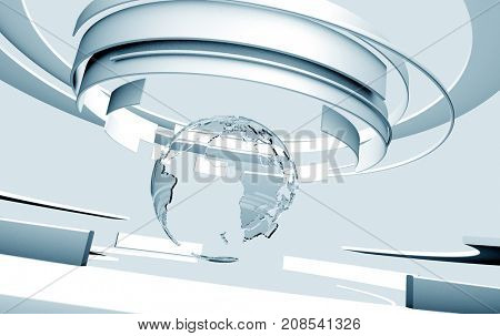 3D light blue curved shapes and glass Earth globe. TV news, broadcasting, technology, science and engineering concept. Realistic shadows and reflections. 3D rendering.