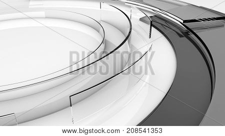 3D transparent smokey glass abstract circular shapes. Technology, science and engineering concept. Realistic shadows and reflections. 3D rendering.