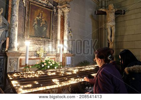 ZAGREB, CROATIA - APRIL 04: Altar of the Virgin Mary in Zagreb cathedral dedicated to the Assumption of Mary in Zagreb on April 04, 2015