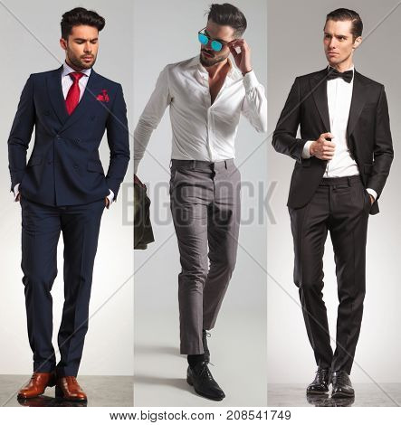 3 different elegant young men on grey studio background