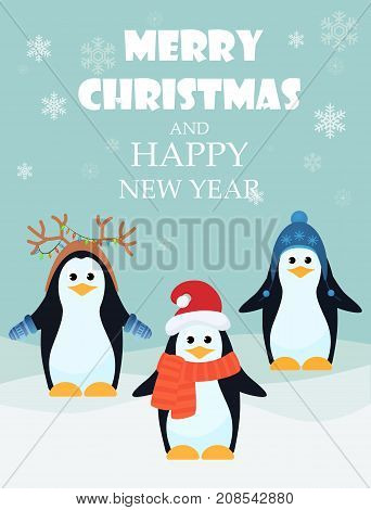 Vector illustration of adorable penguins with Merry Christmas and happy New Year greeting card
