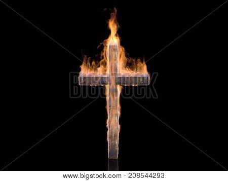 Fiery cross on a black background.,3d render