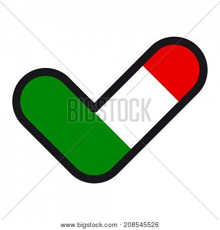 Flag of  Italy in the shape of check mark, sign approval, symbol of elections, voting.