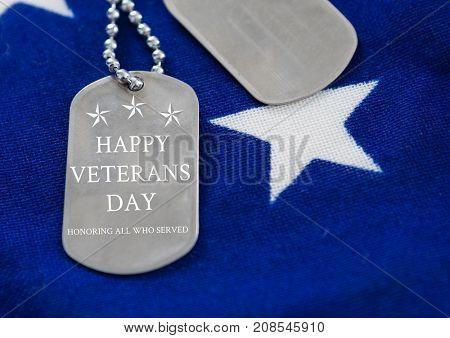 Digital composite of veterans day dog tag