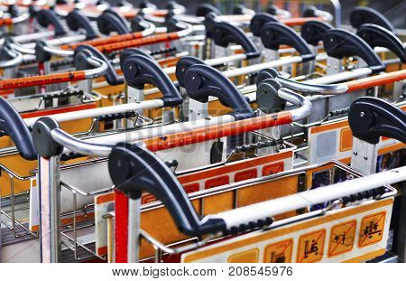 Close-up Line Up Baggage Trolley in the Airport.