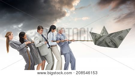 Digital composite of Business people pulling paper money dollar boat