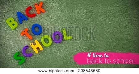 Back to school text with hashtag  against high angle view of back to school text blocks on table