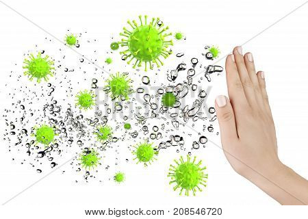 Hand defending some virus and bacteria 3D rendering