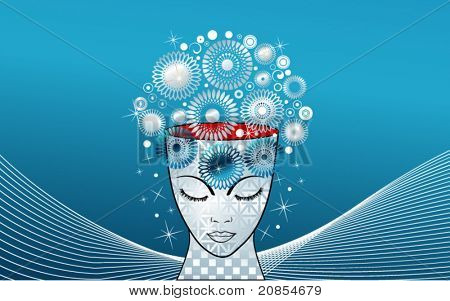 creativity - ideas represented by snowflakes,flowers emerging from beautiful female face / head