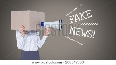 Digital composite of Fake news text and cardboard head using megaphone
