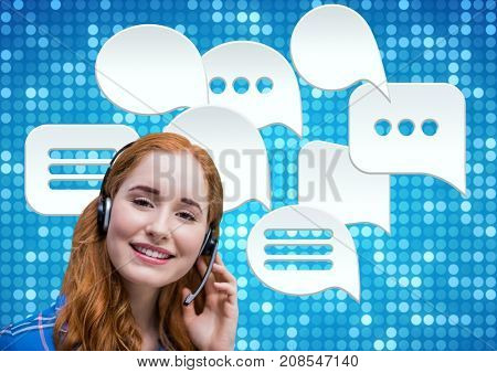 Digital composite of Customer care service woman with chat bubbles