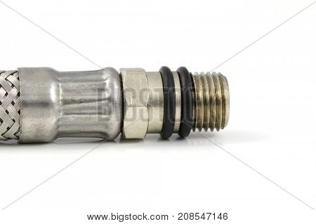 Chromeplated  heavy duty pipe connector. Gas and water transport technology detail.