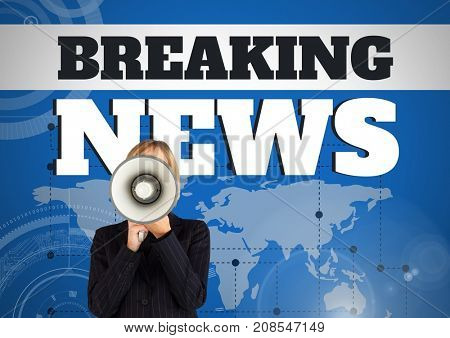 Digital composite of Breaking news text and Woman shouting in megaphone in front of world map