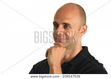 Young businessman with hand on chin isolated over white background