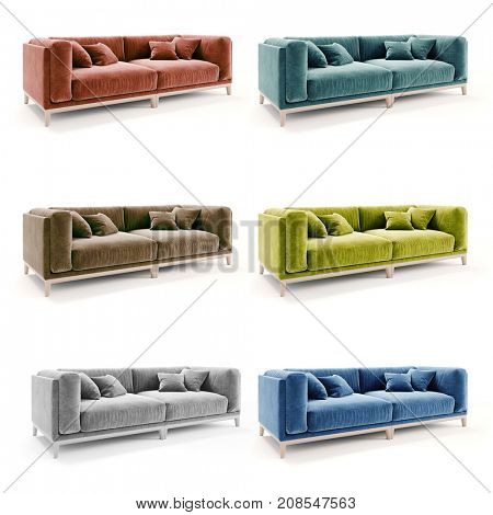 3d beautiful colorful velvet couch on white background