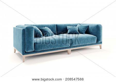 3d beautiful blue velvet sofa on white background