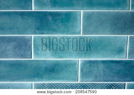 Background and texture blue rectangular tiles
