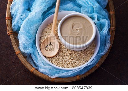 tahini and sesame seeds - food and drink